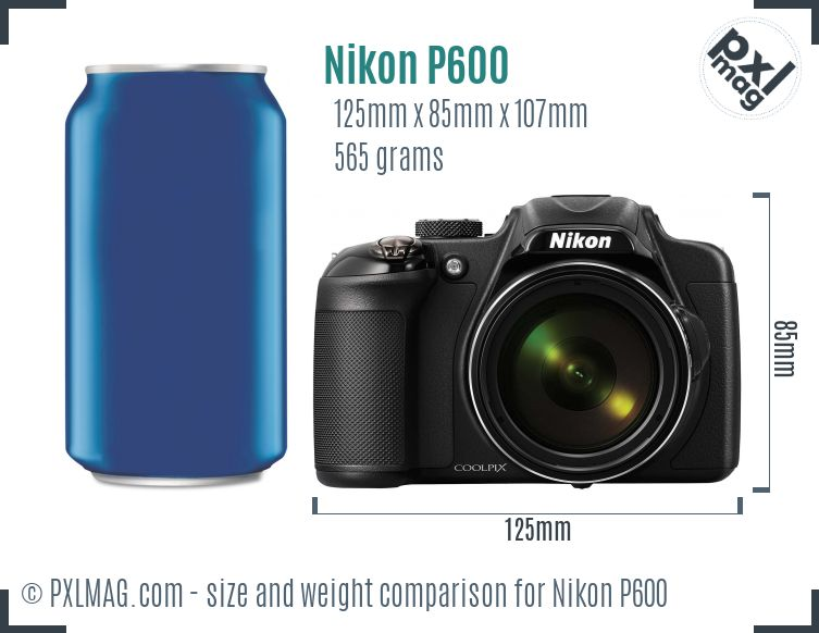 Nikon Coolpix P600 dimensions scale
