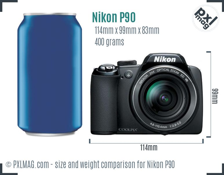 Nikon Coolpix P90 dimensions scale