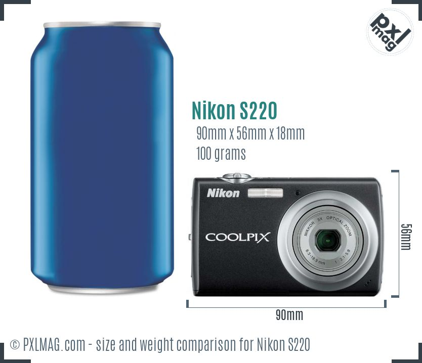 Nikon Coolpix S220 dimensions scale