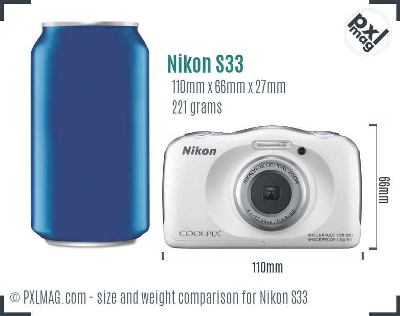 Nikon Coolpix S33 dimensions scale