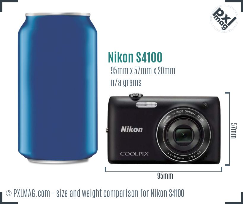 Nikon Coolpix S4100 dimensions scale