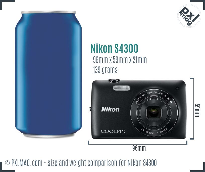 Nikon Coolpix S4300 dimensions scale