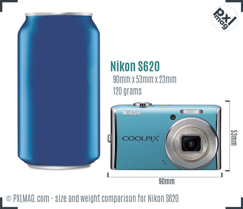 Nikon Coolpix S620 dimensions scale
