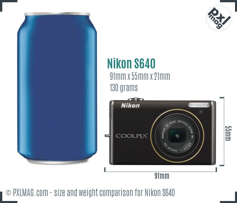 Nikon Coolpix S640 dimensions scale