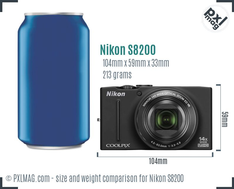 Nikon Coolpix S8200 dimensions scale