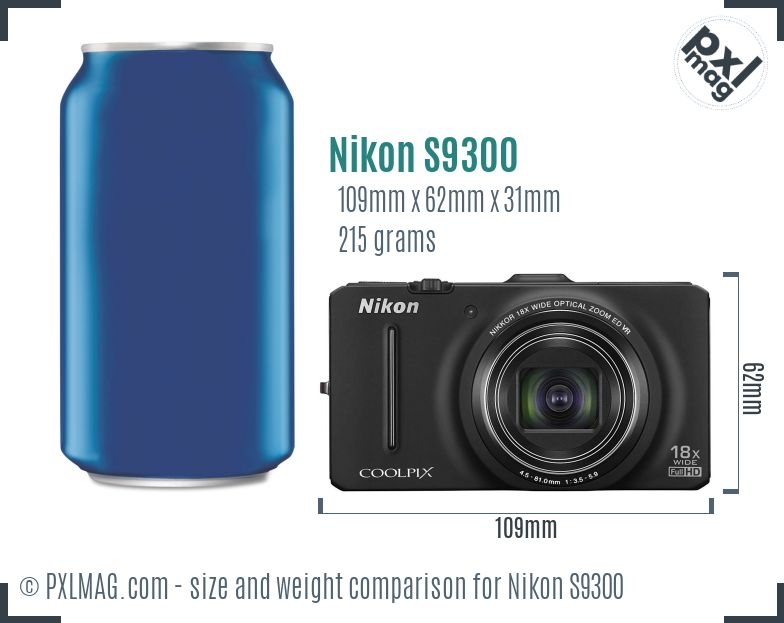 Nikon Coolpix S9300 dimensions scale