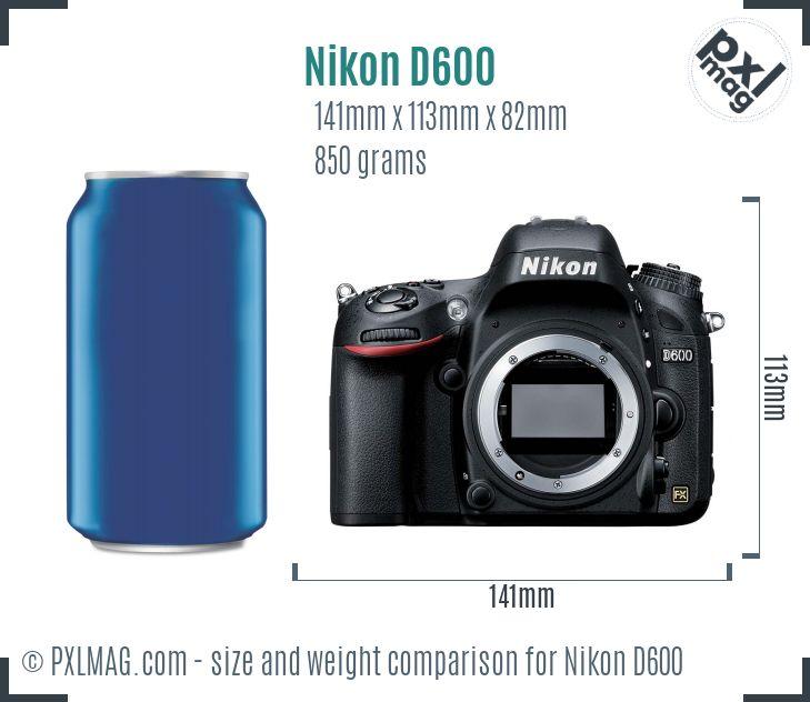 Nikon D600 dimensions scale