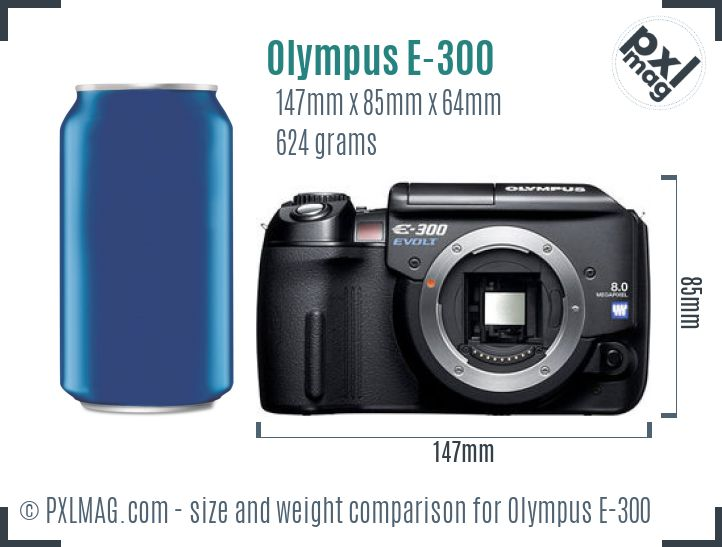 Olympus E-300 dimensions scale