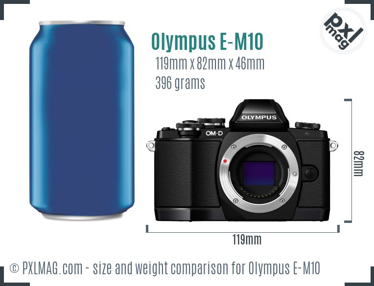 Olympus OM-D E-M10 dimensions scale