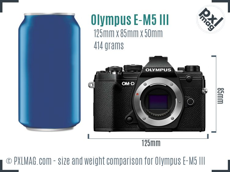 Olympus OM-D E-M5 III dimensions scale