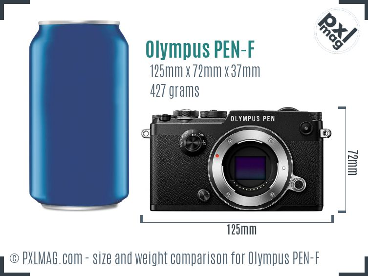 Olympus PEN-F dimensions scale