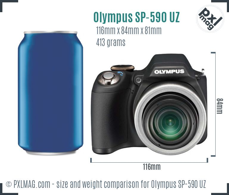 Olympus SP-590 UZ dimensions scale