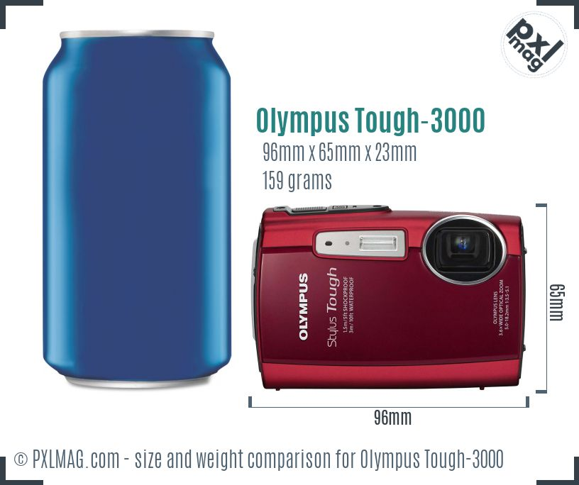 Olympus Stylus Tough-3000 dimensions scale