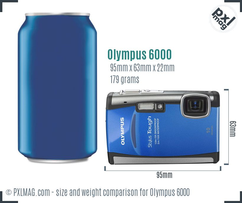 Olympus Stylus Tough 6000 dimensions scale