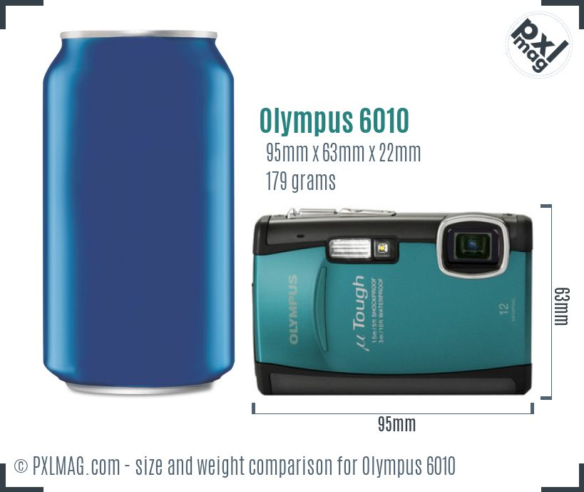 Olympus Stylus Tough 6010 dimensions scale