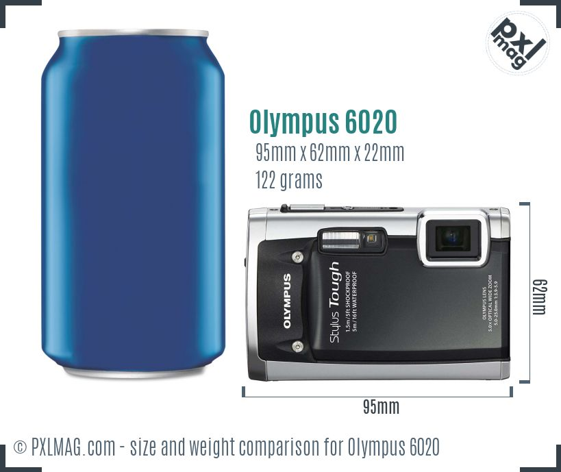 Olympus Stylus Tough 6020 dimensions scale