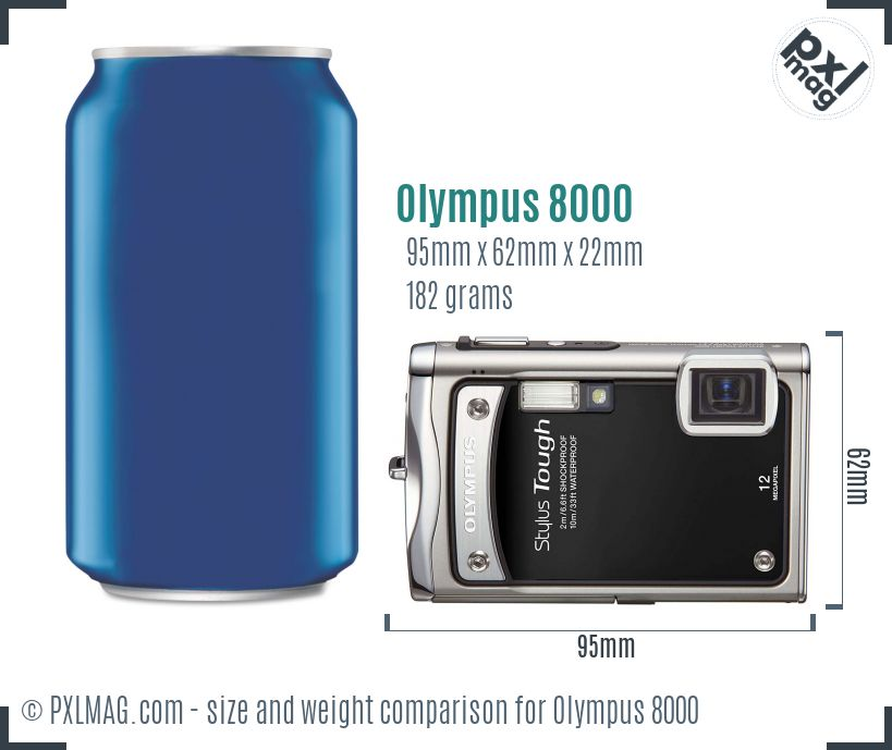 Olympus Stylus Tough 8000 dimensions scale