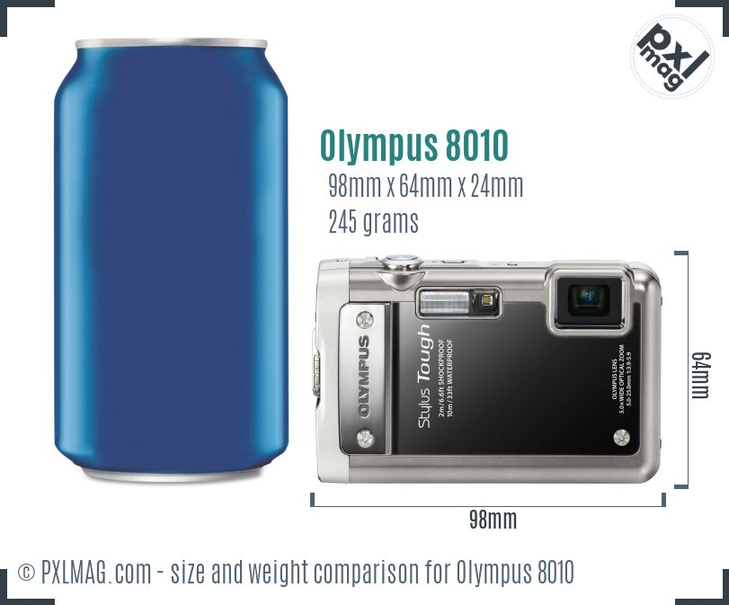 Olympus Stylus Tough 8010 dimensions scale