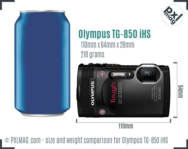 Olympus Stylus Tough TG-850 iHS dimensions scale