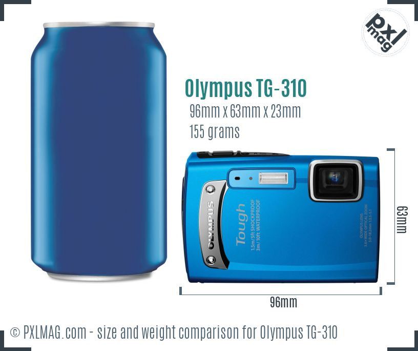 Olympus TG-310 dimensions scale