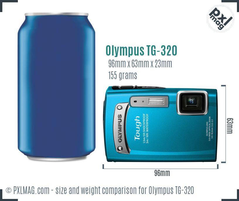 Olympus TG-320 dimensions scale
