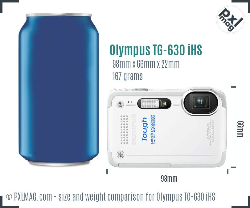 Olympus TG-630 iHS dimensions scale