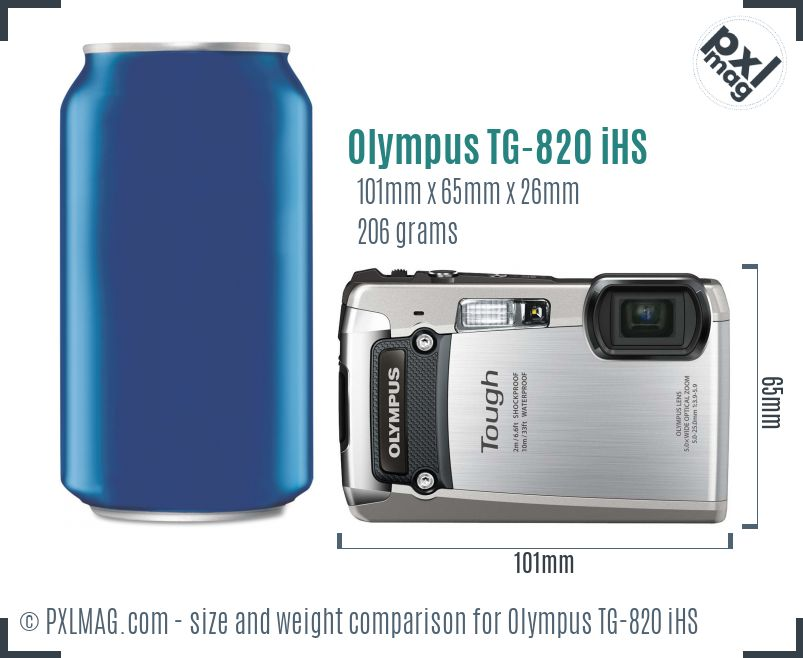 Olympus TG-820 iHS dimensions scale
