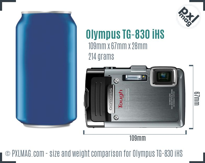 Olympus TG-830 iHS dimensions scale