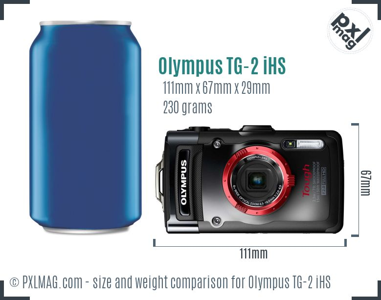 Olympus Tough TG-2 iHS dimensions scale
