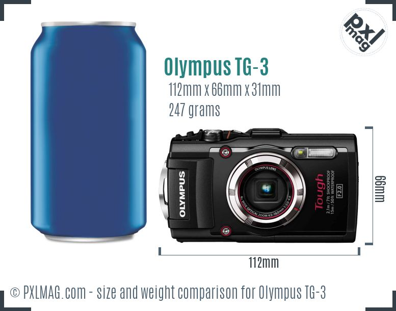 Olympus Tough TG-3 dimensions scale