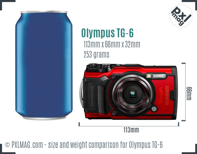 Olympus Tough TG-6 dimensions scale
