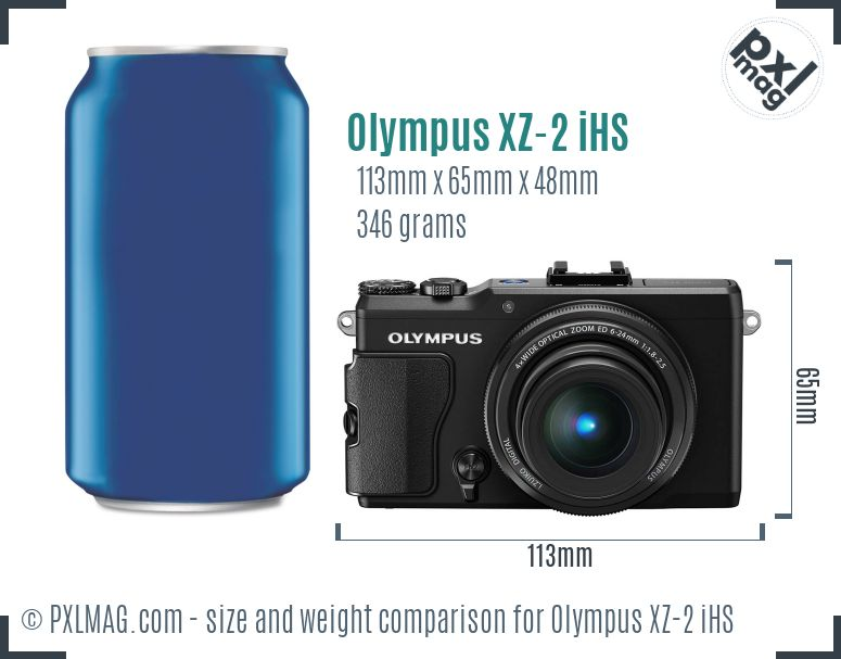 Olympus XZ-2 iHS dimensions scale