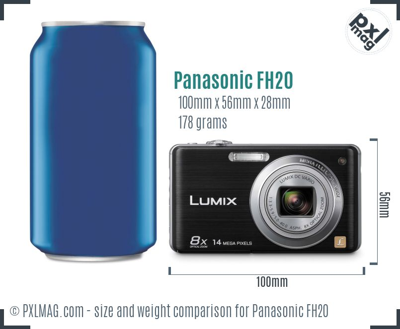 Panasonic Lumix DMC-FH20 dimensions scale