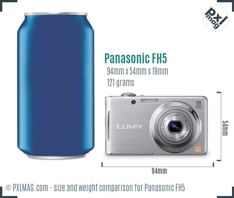 Panasonic Lumix DMC-FH5 dimensions scale