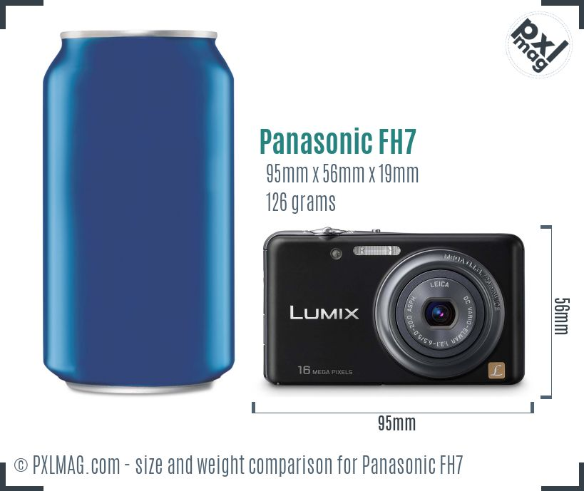 Panasonic Lumix DMC-FH7 dimensions scale