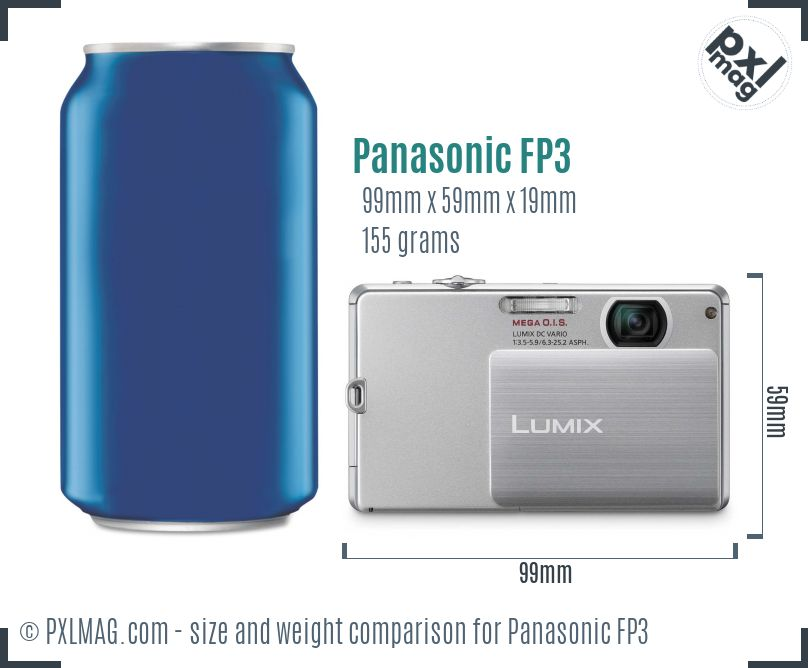 Panasonic Lumix DMC-FP3 dimensions scale