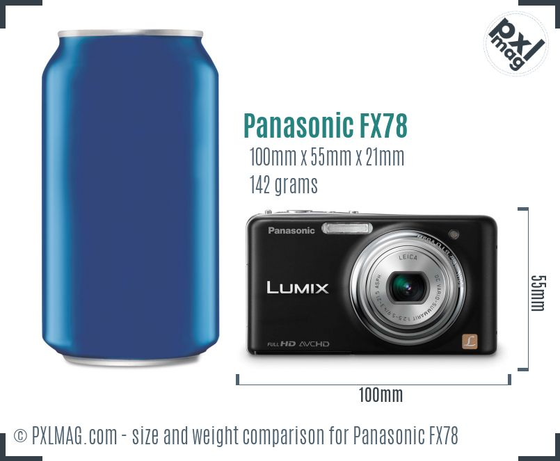 Panasonic Lumix DMC-FX78 dimensions scale