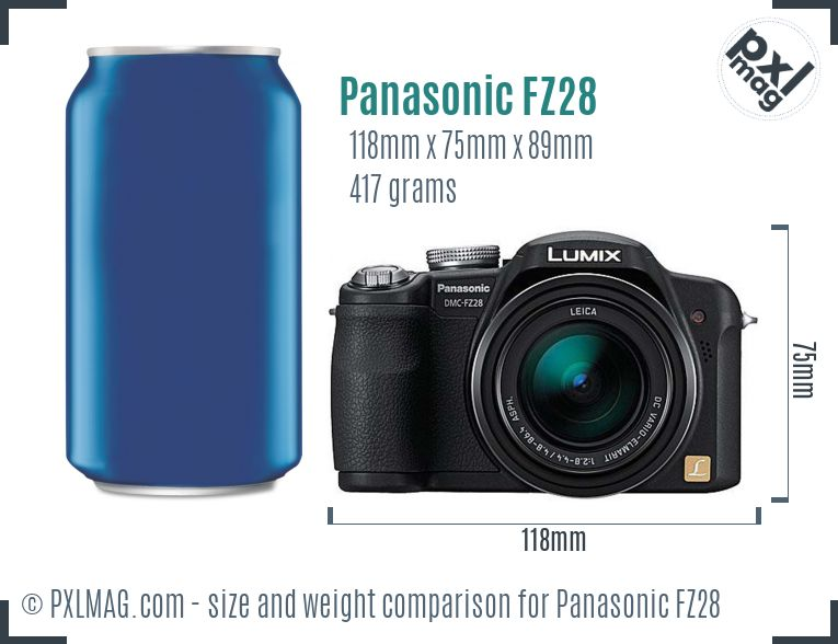 Panasonic Lumix DMC-FZ28 dimensions scale