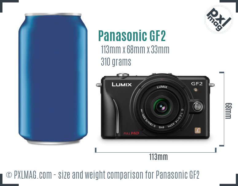 Panasonic Lumix DMC-GF2 dimensions scale