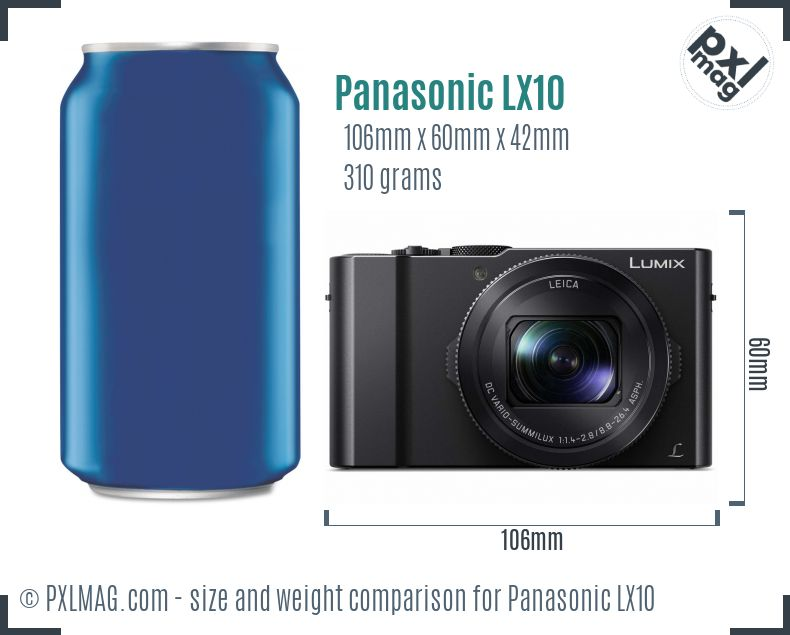 Panasonic Lumix DMC-LX10 dimensions scale
