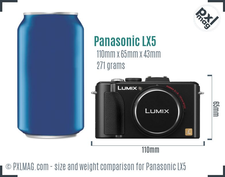 Panasonic Lumix DMC-LX5 dimensions scale
