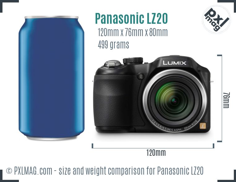 Panasonic Lumix DMC-LZ20 dimensions scale