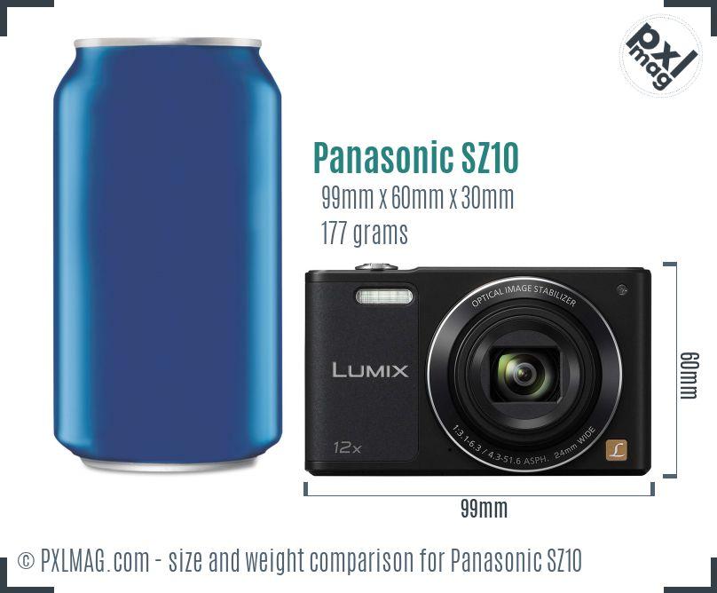Panasonic Lumix DMC-SZ10 dimensions scale
