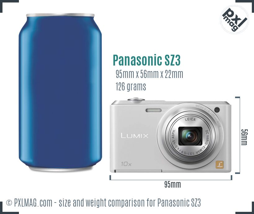 Panasonic Lumix DMC-SZ3 dimensions scale