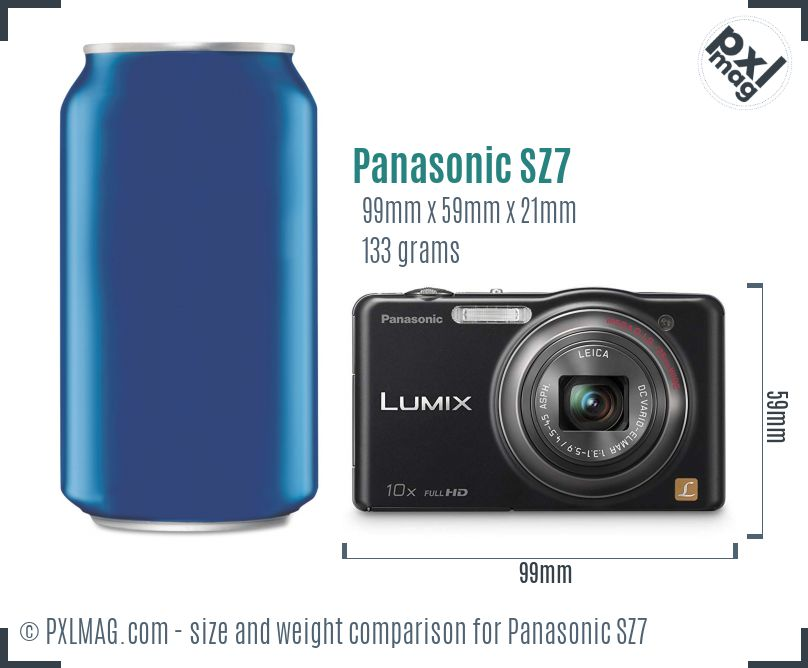 Panasonic Lumix DMC-SZ7 dimensions scale
