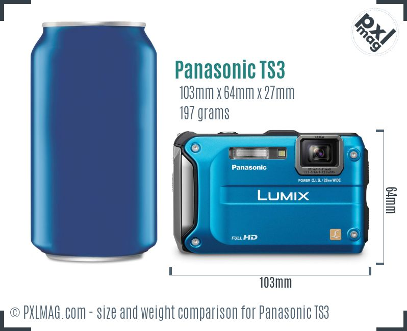 Panasonic Lumix DMC-TS3 dimensions scale