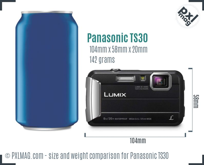 Panasonic Lumix DMC-TS30 dimensions scale