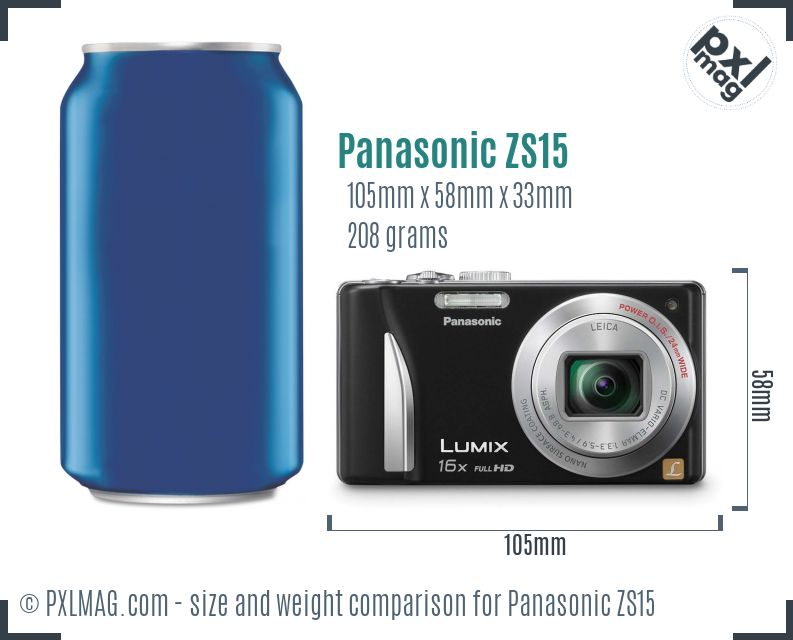 Panasonic Lumix DMC-ZS15 dimensions scale