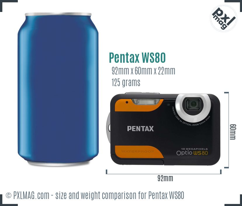 Pentax Optio WS80 dimensions scale