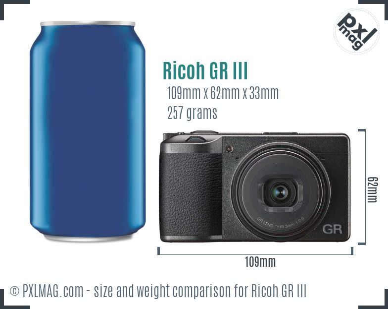 Ricoh GR III dimensions scale